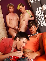 Gay group cock sucking and group...