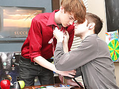 Elijah copulates Max's booty against the cabinet in advance of riding his aperture all over the desk first young gay sex at Teach Twinks