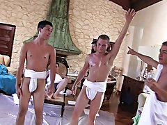 The capa folks are prepping for their toga party by having their pledges tidy up the frat mansion and wrestle for invitations to the soiree of the yea