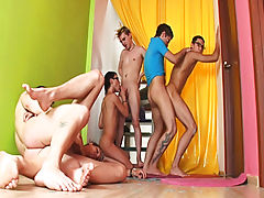 Gay group action and gay fetish group sex at Crazy Party Boys