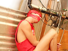 Kyler is bound, blindfolded and gagged with slavery tape as Alexsander drags him into the basement for a round of rough and aggressive sex gay hardcor