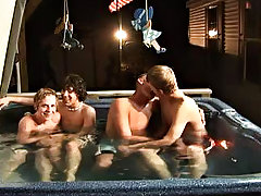 We got 4 boys: Tanner, Dakota, Tommy, and Josh all in the oversexed tub, ready to make it one Tartarus of a party gay group blow job
